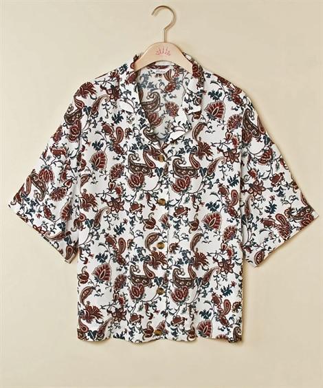 ペイズリープリントオープンカラーシャツ (大きいサイズレディ...