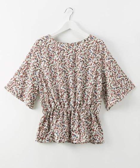 小花柄プリントフレア袖ペプラムブラウス (ブラウス),Blouses, Shirts