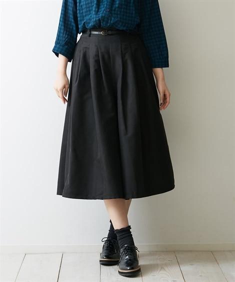 合皮ベルト付 ピーチ素材ガウチョパンツ (レディースパンツ)...