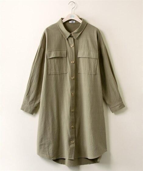 【大きいサイズ】 ビンデージ風フラップポケットガウンワンピース【Blistorm】 ワンピース, plus size dress