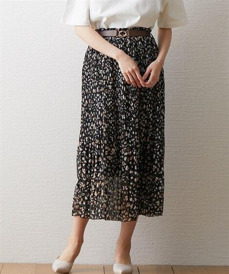 レオパード柄消しプリーツスカート (ロング丈・マキシ丈スカート)Skirts