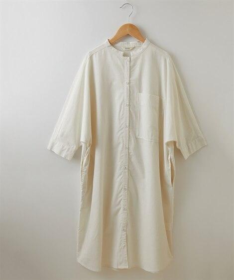 綿麻 バンドカラーシャツワンピース (ブラウス)Blouses, Shirts,