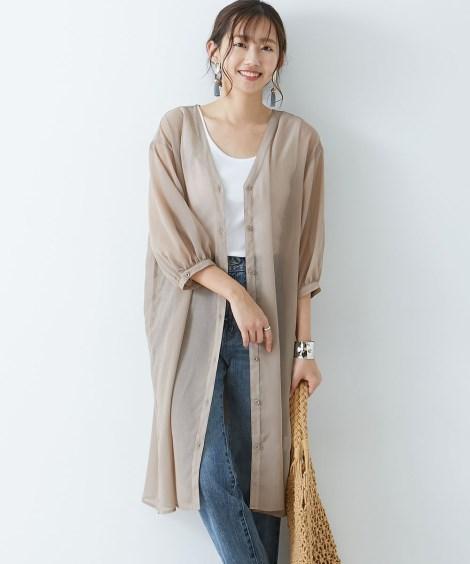 シフォン楊柳ガウンワンピース (ワンピース)Dress