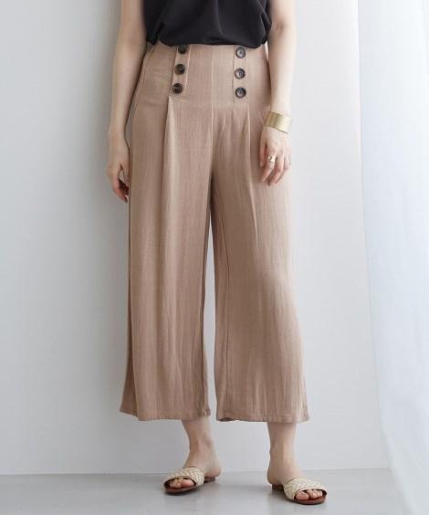 麻混ボタン付ワイドパンツ (レディースパンツ)Pants