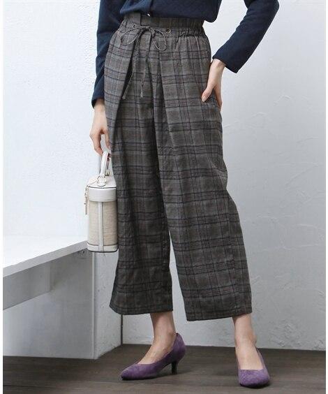 チェック前タックパンツ【CASSE】 (大きいサイズレディース)パンツ,plus size, Pants, ?子, ?子