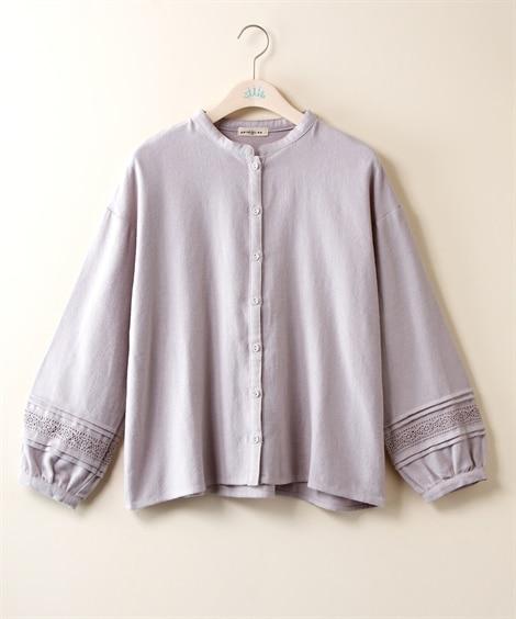 起毛袖レースシャツ【embelge】 (大きいサイズレディー...