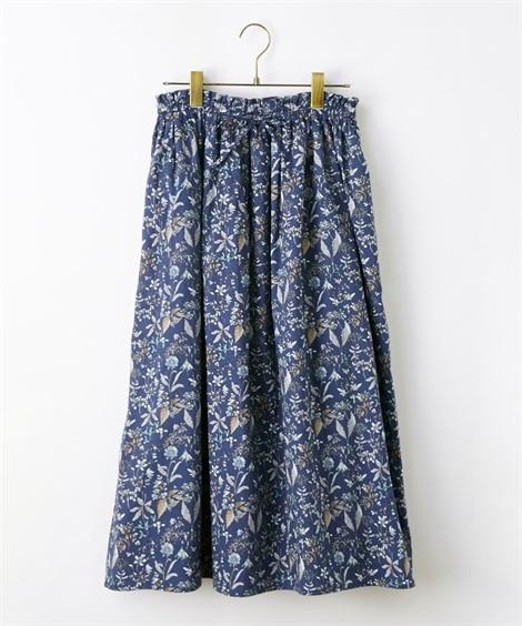 綿100%大人の花柄ふんわりスカート (ひざ丈スカート)