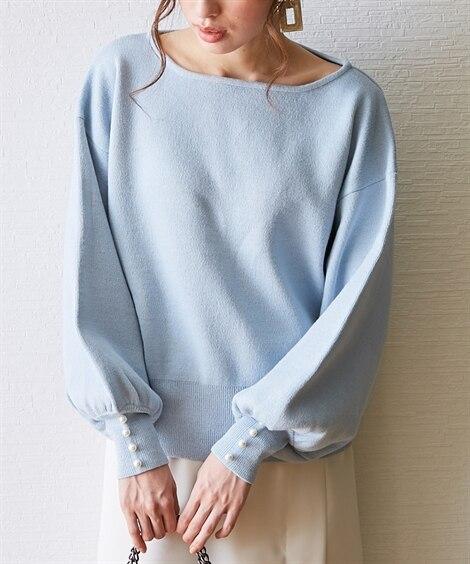 袖口パールボタンボリュームスリーブボートネックニット (ニッ...