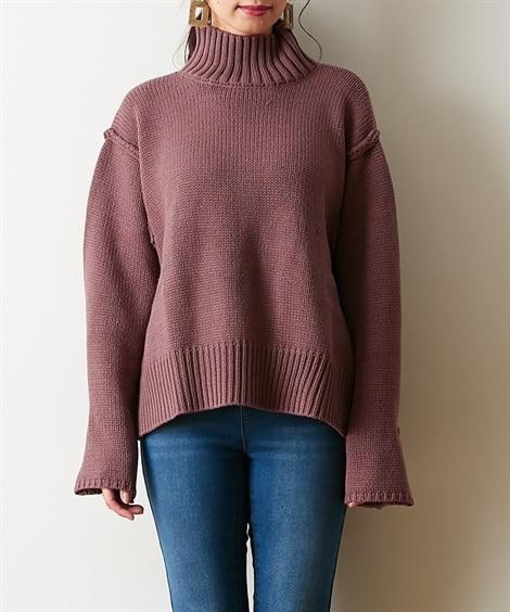 ボタンで袖変化◎アウトシームハイネックニット (ニット・セーター)(レディース)Knitting, Sweater,