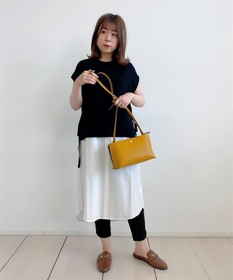 小さいサイズ サイドリボン レイヤードニットワンピース 【小...