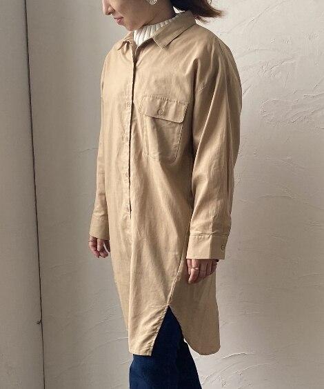 小さいサイズ ポケット付きロングシャツワンピース 【小さいサイズ・小柄・プチ】ワンピース, Dress