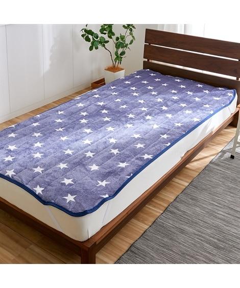 あったか起毛フランネルの敷パッド(星柄) 敷きパッド・ベッドパッドの写真