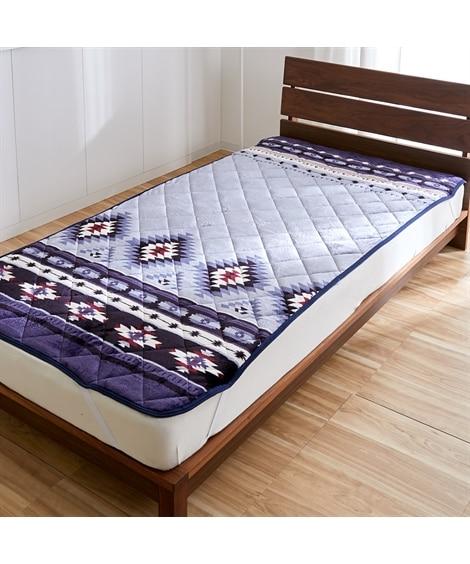 あったか起毛フランネルの敷パッド(キリム柄) 敷きパッド・ベッドパッドの写真