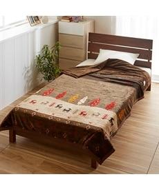 あったか起毛フランネルの綿入り2枚合わせ毛布(トナカイ柄) 毛布・ブランケットの商品画像