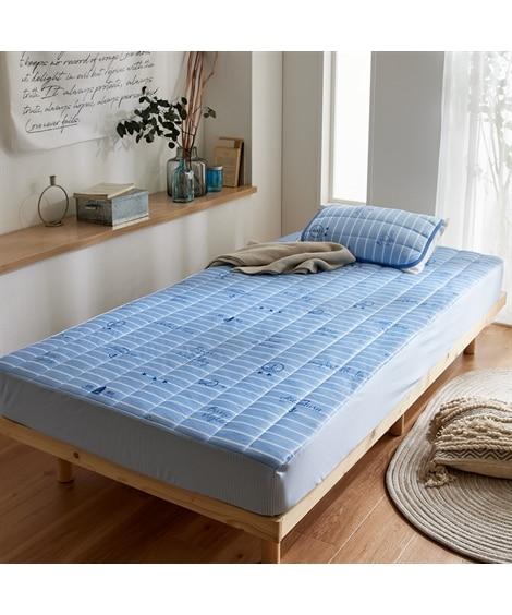 接触冷感マリン柄BOXシーツ一体型敷きパッド 敷きパッド・敷パッド, ベッドパッド, Bed pats(ニッセン、nissen)