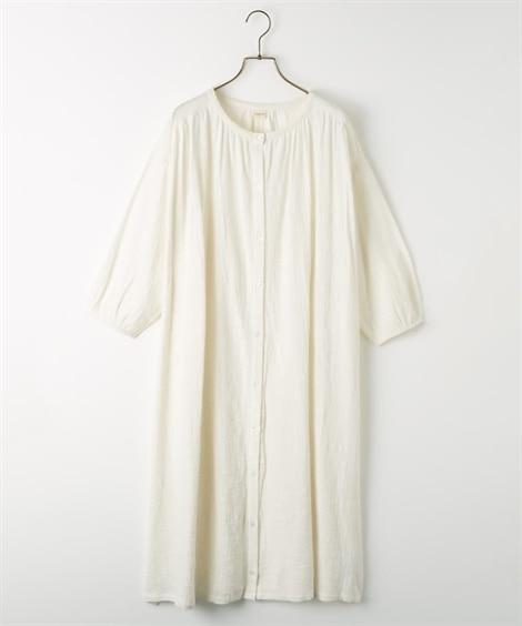 7分袖スラブギャザーロングシャツ (ブラウス)Blouses...