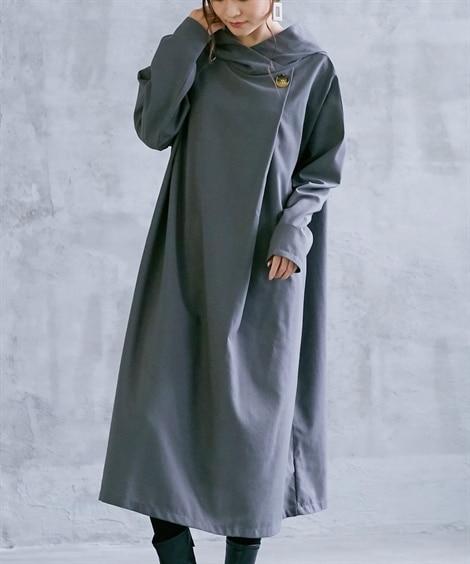 フード付衿元重ねワンピース (ワンピース)Dress, ?衣...