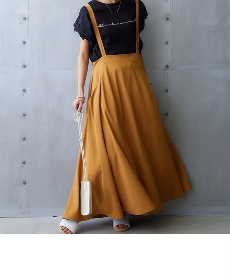 【ゆったりワンサイズ】大人のふんわりジャンパースカート (レ...