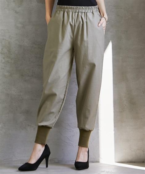 裾リブ切替パンツ (レディースパンツ)Pants