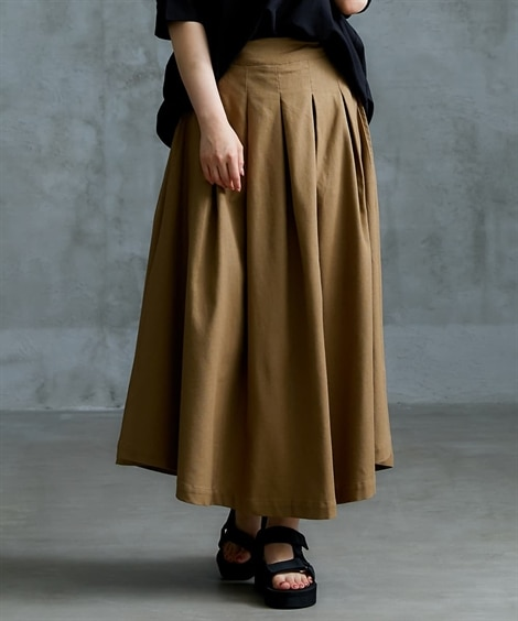 麻混素材ボリュームスカート (ロング丈・マキシ丈スカート),...