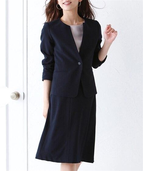 洗えるタテヨコストレッチスカートスーツ(キーネックノーカラー...