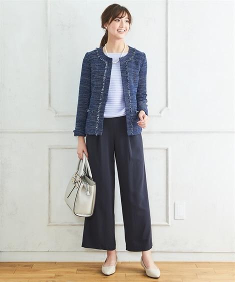 【プチプラ】ツイード調ノーカラージャケットパンツスーツ【入園...