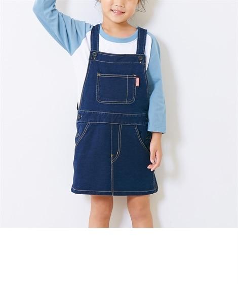 ニットデニムジャンパースカート(女の子 子供服。ジュニア服)...