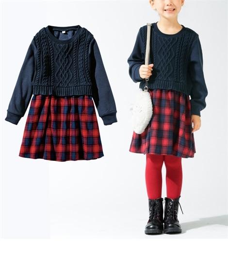 【子供服】 ニット切替ドッキングワンピース(女の子 子供服。...