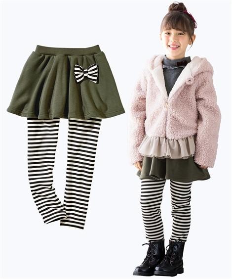 あったか裏シャギーリボン付スカッツ(女の子 子供服。ジュニア...