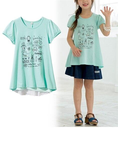 360度可愛いお花シフォンTシャツ(女の子 子供服。ジュニア...