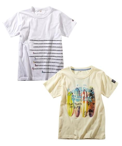 刺しゅう入りプリント半袖Tシャツ2枚組(男の子。女の子 子供...