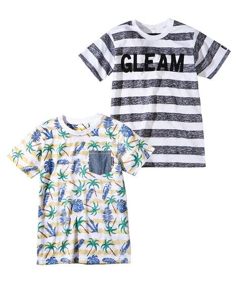プリント裏使い半袖Tシャツ2枚組(男の子。女の子 子供服。ジ...