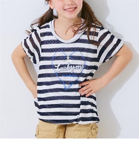2f3cdcd99661e 紺×白  レースボーダーバルーンTシャツ(女の子 子供服・ジュニア服)(Tシャツ ...
