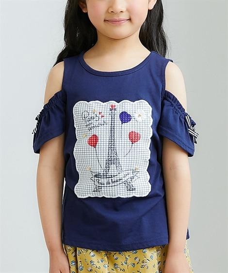 レースシート肩開きTシャツ(女の子 子供服。ジュニア服) T...