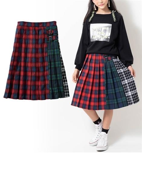 チェック切替プリーツスカート(女の子 子供服。ジュニア服) ...