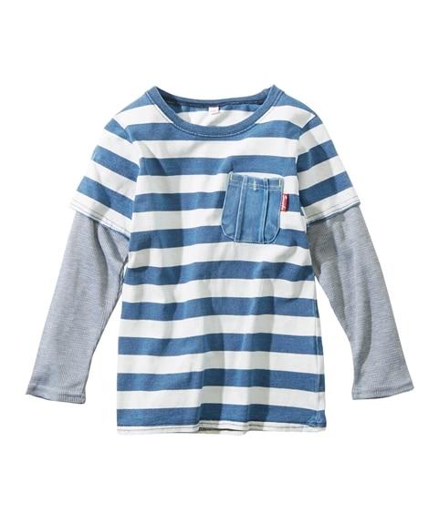 インディゴデニムプリント重ね着風長袖Tシャツ(男の子 子供服...