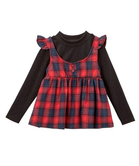 先染めチェック重ね着風Tシャツ(女の子 子供服。ジュニア服)...