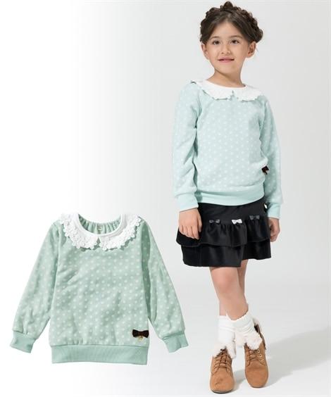 あったか裏ベロア衿付トレーナー(女の子 子供服。ジュニア服)...