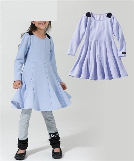 あったか裏ベロア肩リボンワンピース(女の子 子供服。ジュニア...