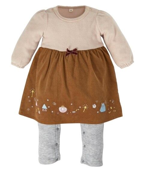 あったかブークレー 裾の刺しゅうがかわいいドッキングカバーオール(女の子 子供服。ベビー服) 【ベビー服】