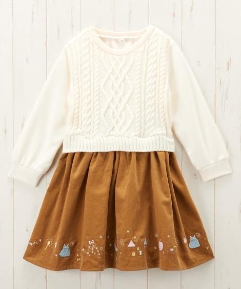 裾刺しゅう入ニット切替バルーンワンピース(女の子 子供服) ...