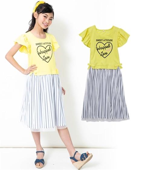 シフォンドッキングワンピース(女の子 子供服。ジュニア服) ...