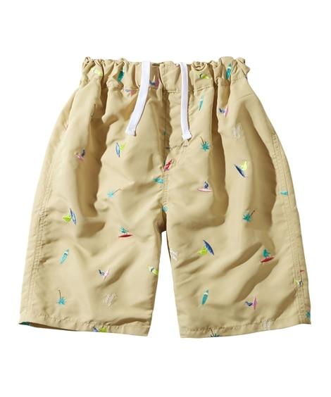 総柄刺しゅうサーフパンツ(男の子 水着) ファッション水着(遊泳用水着) Kid's Swimsuit