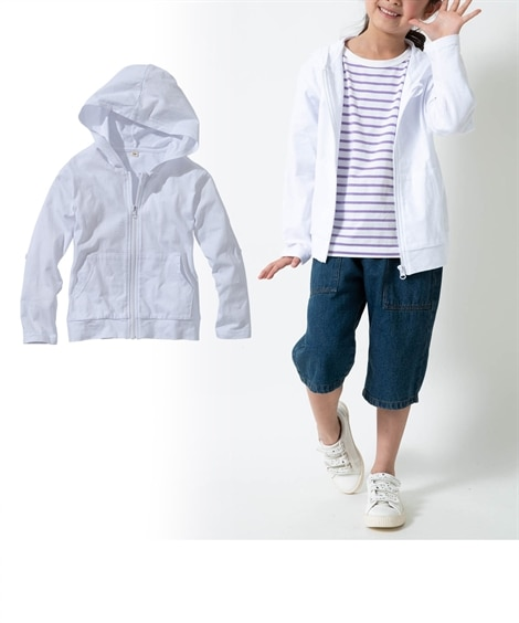 ac9f49d83859a ロールアップできるUVカット薄手パーカー(男の子。女の子 子供服。ジュニア服) (はおりもの) 薄手素材なのでかさばらず、持ち運びしやすい!