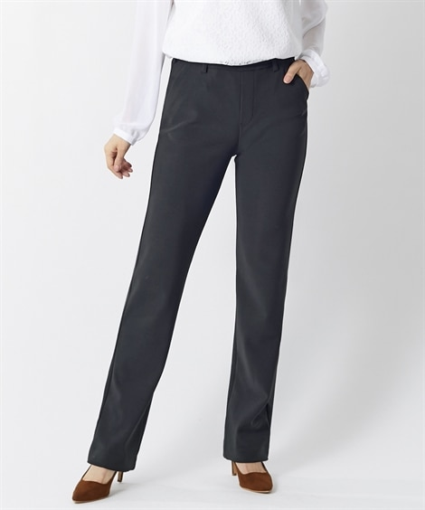 【大きいサイズ】 ヨコすごのびカットソーストレートパンツ(股下63センチ)(オトナスマイル) パンツ, plus size pants