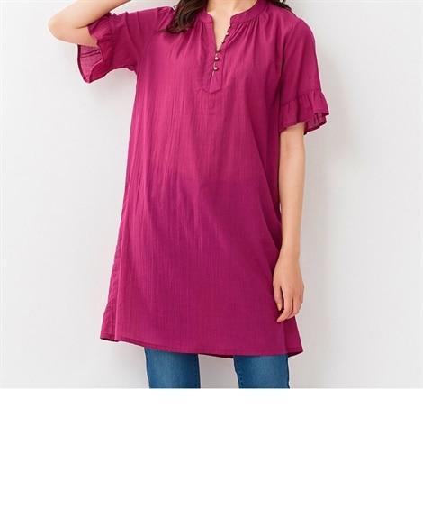 大きいサイズ 空気のように軽くて柔らかなインド綿袖フリルバンドカラーチュニックシャツ ,スマイルランド, plus size tops,