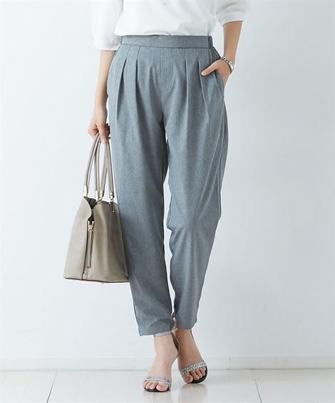 薄軽ストレッチ素材タックパンツ 吸水速乾・UV (レディースパンツ)Pants