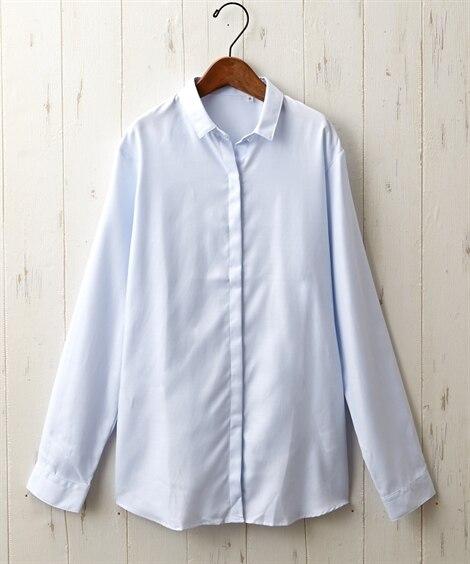形態安定比翼前立てショート衿シャツ...