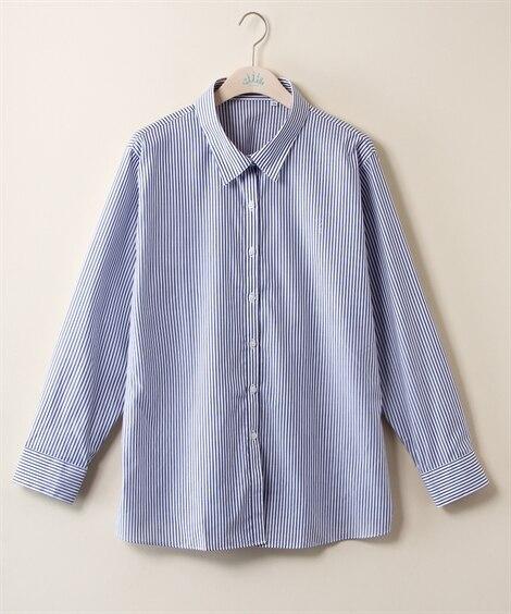 綿100%ストライプシャツ (大きいサイズレディース) pl...