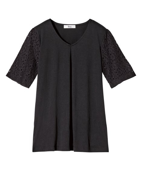 袖レースTシャツ(オトナスマイル) (大きいサイズレディース...